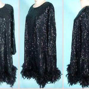 Vintage size 10 I. Magnin Black Tie dress